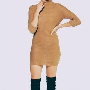 BOOHOO Eloise Roll Sleeve Knitted Sweater Dress